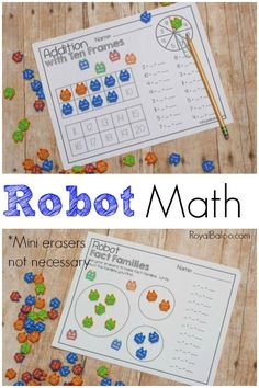 If you have boys (or girls) who love robots and mini-erasers, these fun Robot Themed Math Printables from Royal Baloo are a must. :: www.thriftyhomeschoolers.com