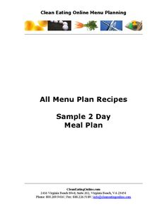 Pin By Pat Cagle On Health And Fitness    Sample Menu