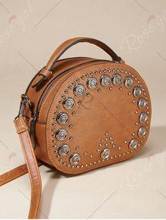 Vintage Studded Round Rivet PU Crossbody Bag fe7e16b54575b