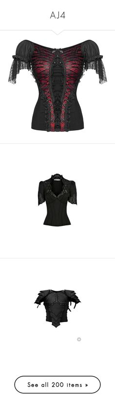 """AJ4"" by punkalishous ❤ liked on Polyvore featuring tops, shirts, punk tops, steampunk top, gothic shirts, red top, victorian shirt, blouses, camisas and lace blouse"