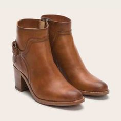 ONLY WORN ONCE Frye Janis Shield Short - 8.5 Frye Janis Shield Short. Only worn once. Small repaired tear on front of right shoe. Size 8.5. Leather. Come with original box. Cognac. Frye Shoes Ankle Boots & Booties
