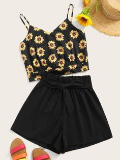 To find out about the Sunflower Print Tie Back Crop Cami Top With Belted Shorts at SHEIN, part of our latest Two-piece Outfits ready to shop online today! Summer Outfits For Teens, Cute Teen Outfits, Teenage Girl Outfits, Girls Fashion Clothes, Trendy Outfits, Fashion Outfits, Crop Top Outfits, Mode Outfits, Sunflower Clothing