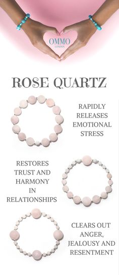 Rose Quartz and Sterling silver bracelets. Jewellery with a meaning by OMMO London.