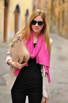 Pink (basics, neutrals, tan clutch, pink scarf)