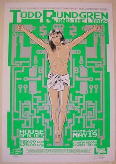 """Todd Rundgren and the Liars - silkscreen concert poster (click image for more detail) Artist: Stainboy Venue: House of Blues Location: Orlando, FL Concert Date: 5/19/2004 Size: 20 1/4"""" x 29 1/2"""" Editi"""