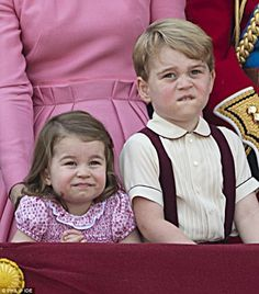 Ready and waiting: The Royal siblings take up their positions. sister and brother, Charlotte and George. June Trooping of the Colour Prince Georges, Prince George Alexander Louis, Prince William And Catherine, William Kate, Princesa Charlotte, Princesa Kate, Baby Prince, Royal Prince, Prince And Princess