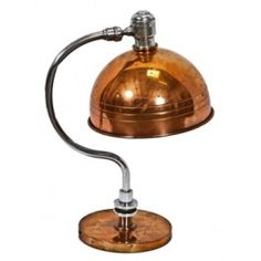 Remarkable c. 1930's original copper-plated machine age table lamp with incised ring shade. #industrial #lighting #vintage #antique #office #tasklight