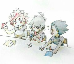 Little shu was a experienced paper ninja star maker and they were so adorable when they were 😍😍😍😍😍😍 Beyblade Characters, Cartoon Characters, Paper Ninja Stars, Boboiboy Galaxy, Beyblade Burst, Fans, Akira, Kawaii Anime, Evolution