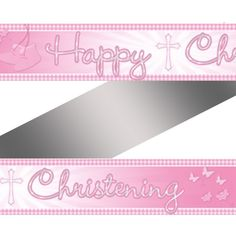 Pink Christening Booties Foil Banner
