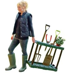 Garten Werkzeug Halter Auf Rädern Gartenarbeit Hilfe Schaufeln Mistgabeln Harken: Amazon.de: Garten