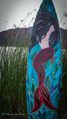 Raven the Mermaid Mosaic Glass, Fused Glass, Glass Art, Surfboard Art, Custom Glass, Sculpture Art, Raven, Surfboards, Recycling