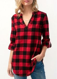 Long Sleeve Plaid Print Curved Blouse | Rosewe.com - USD $30.03