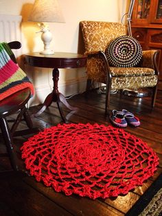 Handmade Crochet Rug  thick cotton in Red by OhYEHs on Etsy, £50.00