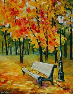 Canvas Painting - White Bench - Landscape oil painting on canvas by famous artist Leonid Afremov. Autumn Painting, Autumn Art, Oil Painting On Canvas, Painting Trees, Painting People, Painting Abstract, Painting Art, Wall Canvas, Canvas Art