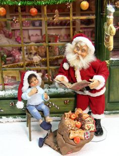Christmas Boy Doll by Silke Janas-Schlosser - $349.00 : Swan House Miniatures, Artisan Miniatures for Dollhouses and Roomboxes