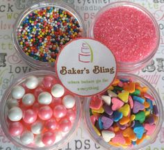 Hearts and Pearls Sprinkle Kit  for Cupcakes by BakersBlingShop, $9.75