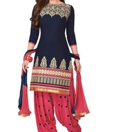 776c555a1f Buy Blue cotton embroidered semi stitched salwar with dupatta patiala-salwar  online Online Shopping Deals