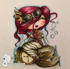 My Besties/ Sherri Baldy/ steampunk/ mermaid/ Polychromos pencils/ card making/ Ness Butler/ digi / stamp/