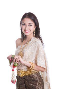 Thai Lady in vintage original Thailand - Thai Lady in vintage original Thailand attire Sawasdee action welcome in thai style