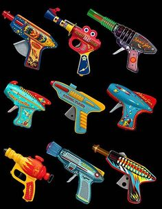 Ray Guns - retro design print by Terry Pastor. Steampunk, Retro Toys, Vintage Toys, Vintage Robots, Space Toys, Vintage Space, To Infinity And Beyond, Mo S, Tin Toys