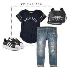 """Outfit #42"" by caroluemura on Polyvore featuring moda, Hollister Co., adidas Originals e T-shirt & Jeans"
