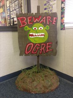 Beware ogre sign prop for Shrek the Musical jr.