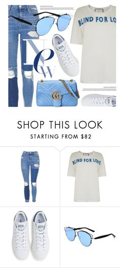 """""""Blue Details"""" by smartbuyglasses ❤ liked on Polyvore featuring Topshop, Gucci, adidas, Christian Dior, white and Blue"""