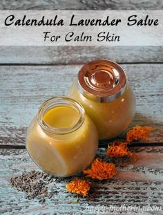 DIY Calendula Lavender Salve for Calm Skin via Happy Mothering