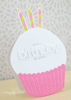"handmade birthday card invitation ...  shape of a cupcake ... three candles sticking up from the top ... die cut ""birthday"" covered in glitter ... machine sewn lines on the cupcake wrapper ... fun and creative card ... PaperTrey Ink"