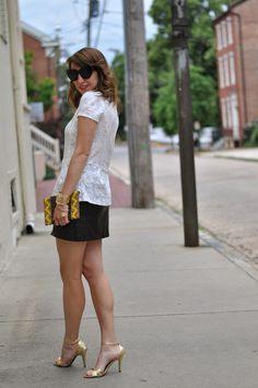 leather mini, white lace top