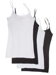 Zenana Women's Tank Top Camisole, Pack of 4, Medium, Black, Black, White, White Zenana Outfitters http://www.amazon.com/dp/B00GS7GVJ8/ref=cm_sw_r_pi_dp_uIXawb1SC3SQ4