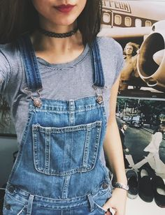Denim Classic Overall Dress With Raw Hem in Mid Wash Blue