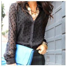 Sheer polka dot shirt! Love!