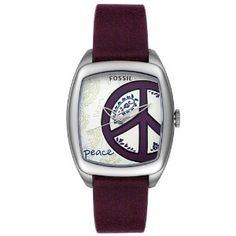 $55.00 + $6.95 shipping Fossil Women's ES2305 Peace Purple Leather Watch