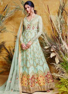 Get Awesome Turquoise Color Net Designer Anarkali Salwar Suit latest designer party wear salwar suits, wedding wear dress for women at VJV Fashions. Anarkali Dress, Anarkali Suits, Floor Length Anarkali, Net Gowns, Latest Salwar Kameez, Designer Anarkali, Party Wear Dresses, Bridal Dresses, Turquoise Color