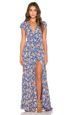 Tularosa Sid Wrap Dress in Navy & Peach Floral | REVOLVE