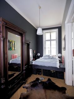 Delicieux Narrow Bedroom With Plentiful Storage Options / IKEA FAMILY Good Options  For Those Strange Spaces.