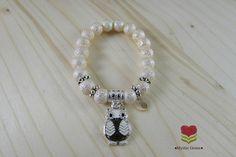 Girls Owl Bracelet Cream Stardust Glass Pearls Beaded Bracelet Black White Owl Charm Bracelet Child Size Stretch Bracelet Kids Owl Jewelry