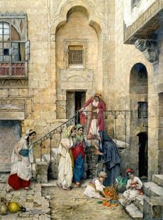 Harem girls in the courtyard of a palace 1885  By Daniel Israel - Austrian, 1859-1901  Oil on canvas