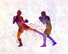Boxers Painting - Woman Boxer Boxing Man Kickboxing Silhouette Isolated 02 by Pablo Romero Kickboxing Quotes, Kickboxing Women, Karate, Kick Boxing Girl, Boxing Gym, Man And Woman Silhouette, Martial Arts Quotes, Art Of Fighting, Girl Sketch