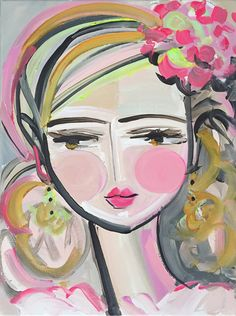 Girl, Hydrangea 11 x 14 x 3/4 depth Abstract Girl painting on canvas; Sides painted a light khaki so ready to hang unless you choose to frame. Questions, just ask! Original art becomes property of buyer, seller retains right to sell prints unless otherwise discussed.