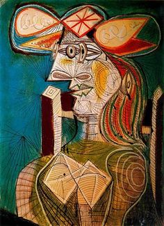 Seated woman on wooden chair - Artist: Pablo Picasso Completion Date: 1941 Style: Surrealism Period: Neoclassicist & Surrealist Period Genre: portrait Technique: oil Material: canvas Dimensions: 129.5 x 96.5 cm Gallery: Currier Museum of Art, Manchester, New Hampshire, USA Tags: female-portraits
