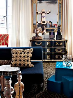 Blue, leopard, black and gold