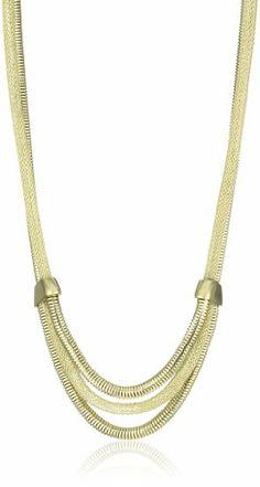 """Anne Klein """"ARCADIA"""" Gold-Tone Mesh Necklace - Anne, Arcadia, GoldTone, Klein, Mesh, Necklace - http://designerjewelrygalleria.com/anne-klein-jewelry/anne-klein-arcadia-gold-tone-mesh-necklace/"""