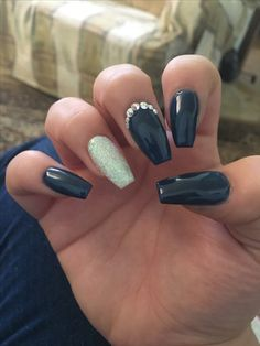 Navy Blue And Silver Coffin Shaped Nails For Prom Nails In 2018