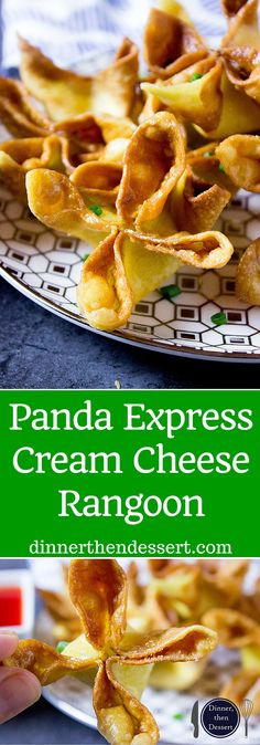 Panda Express Cream Cheese Rangoon made with a creamy center and crispy exterior. - Panda Express Cream Cheese Rangoon made with a creamy center and crispy exterior, these are the per - Wonton Recipes, Appetizer Recipes, Dessert Recipes, Fondue Recipes, Dessert Food, Soup Recipes, Recipies, Good Food, Yummy Food