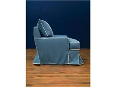 """Shop for Vanguard Chairs, VGF_RS_117, and other Living Room Chairs at Englishman's Interiors in Dallas, TX. V470W-CH - McDreamy Chair. Fabric: Taino Denim with Contrast Flange in Aspect Beach. White and 2"""" White Twill Tape on Back Pillow (2 Vertical Stripes) ."""