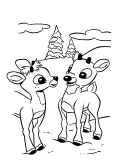 A Cute Two Rudolph Coloring Pages