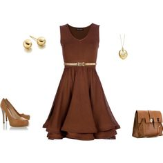 Simply Brown Dress But a navy belt with nude shoes