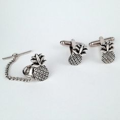Men's Silver Pineapple Cufflinks & Matching Tie Tack Set, Welcome Hospitality Pair of Tropical Fruit Ananas Cuff Links - Guys Gift on Etsy, $29.99